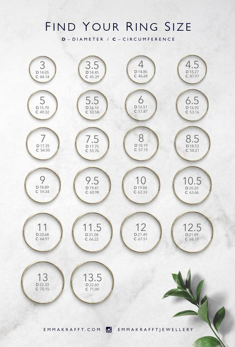 Easily And Practically Find Your Ring Size With This Handy Chart Simply Measure The Larger Portion Of The Fing Simple Fine Jewelry Measure Ring Size Ring Size