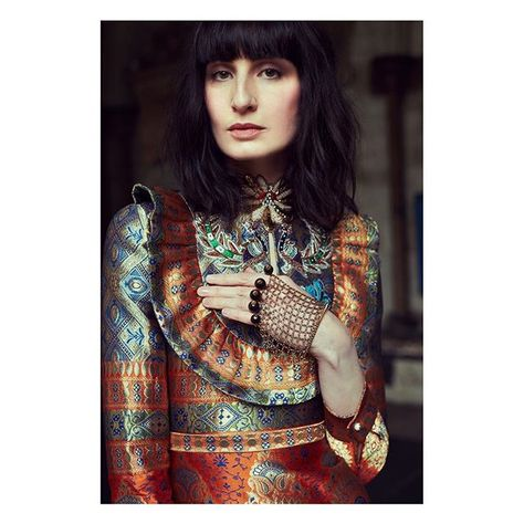 Inside the November issue of @harpersbazaares, model @erinoconnor wears a jacquard silk dress from #GucciCruise17 by #AlessandroMichele. #GucciEditorials Photographer: @nachoalegre Styling: @bdelacova