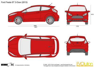 Ford Fiesta St 3 Door Vector Drawing In 2020 Ford Fiesta St