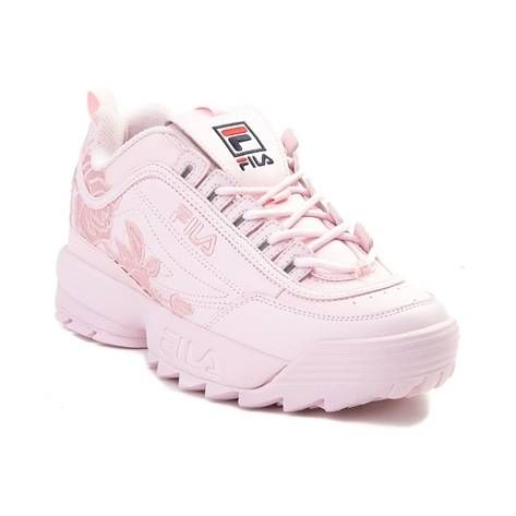 Womens Fila Disruptor 2 Rose Athletic Shoe Pink Leather Shoes Woman Womens Athletic Shoes Trending Shoes
