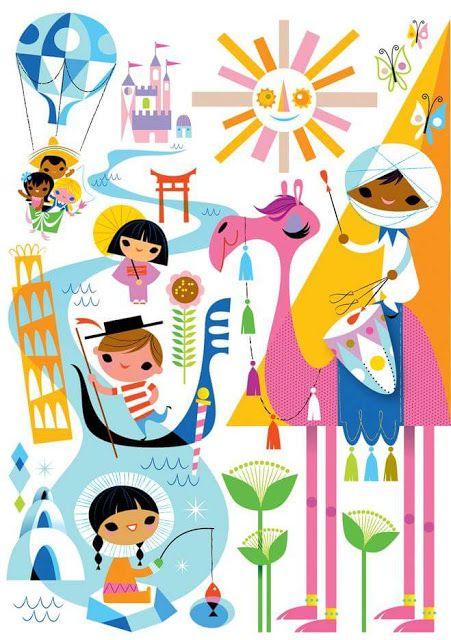 Mary Blair, it's a small world, disney, party Mary Blair, Disney Artists, Disney Kunst, Disney Posters, Movie Posters, Disney Scrapbook, Children's Book Illustration, Digital Illustration, Vintage Disney