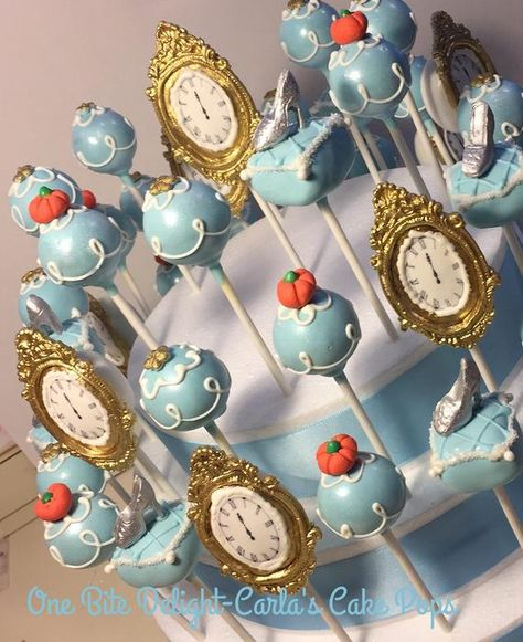 Cinderella Cake Pops - My set includes, the clock striking midnight, glass slippers on pillow, blue dress with flowers and pumpkin. Made with chocolate and vanilla cake. Cinderella Sweet 16, Cinderella Cake Pops, Cinderella Baby Shower, Cinderella Wedding, Cinderella Princess, Princess Party, Princess Cake Pops, Disney Cake Pops, Cinderella Birthday Cakes