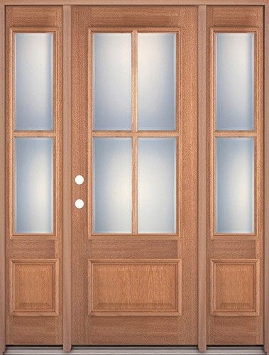 1498 4 Lite 1 Panel Mahogany Prehung Wood Door Unit With Sidelites Jambs Included In Price Wood Entry Doors Wood Front Doors Wood Doors