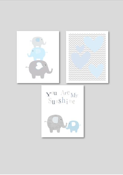 Blue Elephants printable nursery art set, instant download, elephant nursery art, grey and baby blue nursery decor, elephants nursery decor.
