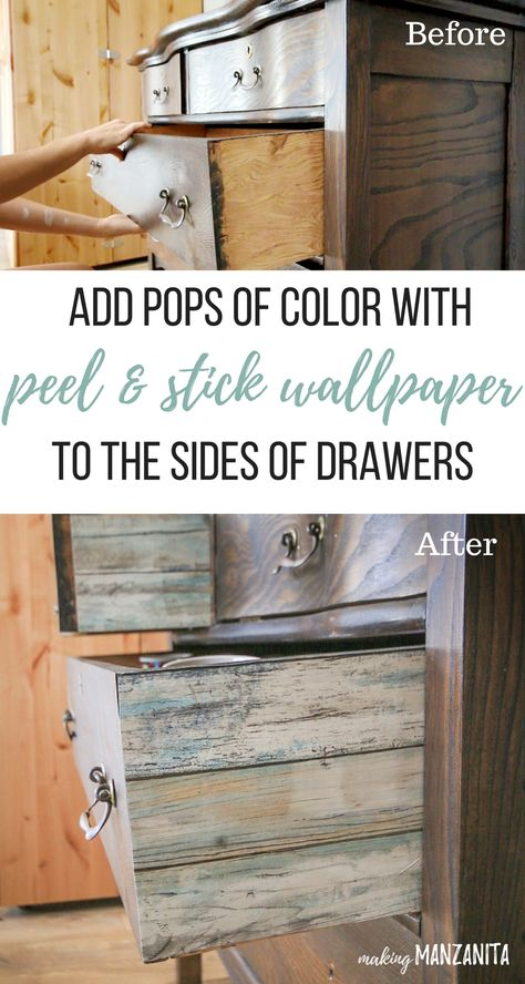Add Peel And Stick Wallpaper To The Sides Of Drawers Peel And Stick Wallpaper Wallpaper Dresser Furniture Rehab