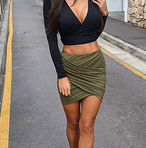American Apparel Street Fashion Women Lady High Waist Short Skirt Sexy Bandage Bodycon Cross Fold Pencil Skirts - Total Street Style Looks And Fashion Outfit Ideas