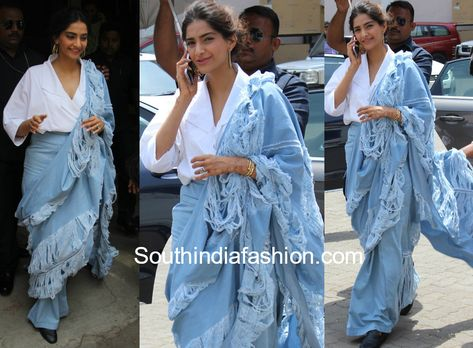 Sonam Kapoor in a ripped denim saree for Veere Di Wedding promotions!