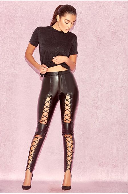 Sukesh Black Lace Up Vegan Leather Trousers Bandage Dress Bodycon Clothes Leather Trousers