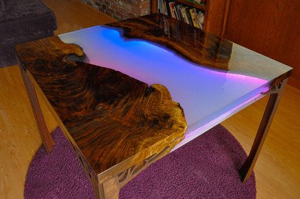 Glowing Led Resin River Table With Tutorial In 2019 Epoxy