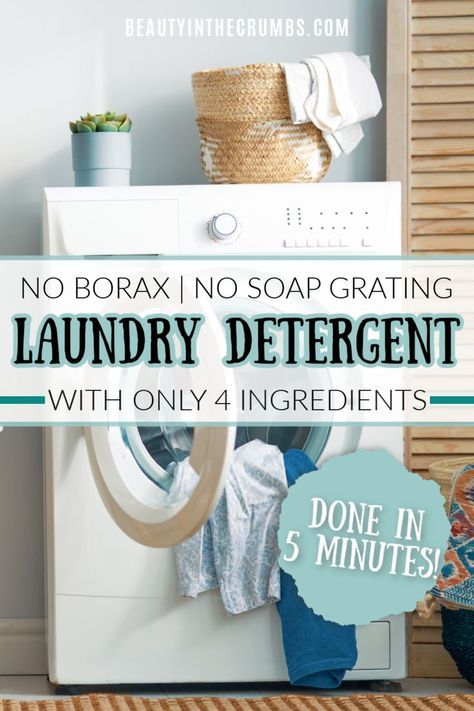 Easy 5 minute DIY laundry detergent without borax. There's no soap grating, it's really cheap to make, and it's all-natural. A very effective laundry detergent for sensitive skin. Laundry Detergent Recipe, Powder Laundry Detergent, Laundry Powder, Homemade Detergent, Homemade Laundry Soap, Making Laundry Detergent, Best Natural Laundry Detergent, Homemade Cleaning Products, Cleaning Recipes