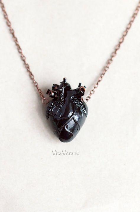 Anatomical heart necklace Black Heart Pendant by VitaVerano