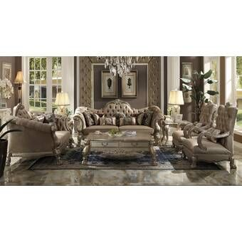 Astoria Grand Varnell 3 Piece White And Silver Embossed Fabric Standard Living Room Set Wayfair Living Room Sets 3 Piece Living Room Set Room Set Wayfair living room furniture sets