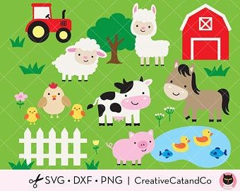10+ Country Farm House With Animals Clipart