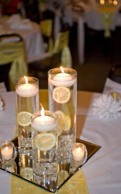 22 Trendy Wedding Table Decorations Yellow Floating Candles