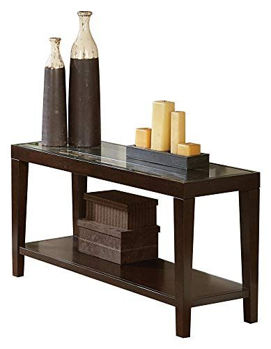 Valencia Sofa Table With Glass Insert In Espresso Sofa Table Table Glass Table