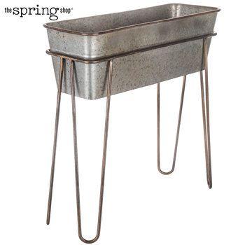Galvanized Metal Planter On Legs Small Metal Planters Galvanized Metal Spring Shopping