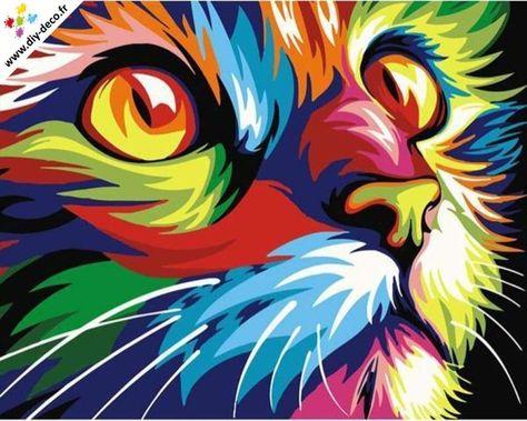 Peinture Par Numero Chat Colore En 2020 Peinture Par Numero