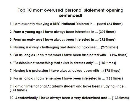 10 most OVERUSED sentences in Personal Statements