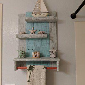 Handcrafted Beach Shelvesocean Decor Bathroom Shelves Made Etsy Nautical Shelves Reclaimed Wood Shelves Wood Shelves