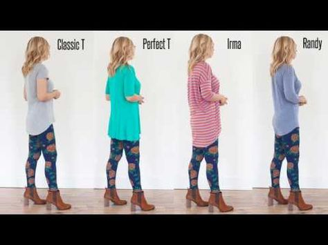 Great visual to show off the different lengths of the LuLaroe shirt styles. LuLaRoe Classic T, Perfect T, Irma and Randy all cover your assests!