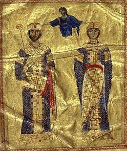 Emperor and Empress in full Imperial regalia, both with the loros, Nicephorus III and Maria of Alania. 1074-81AD. Garments: tunica tularis, .orum, segmentum