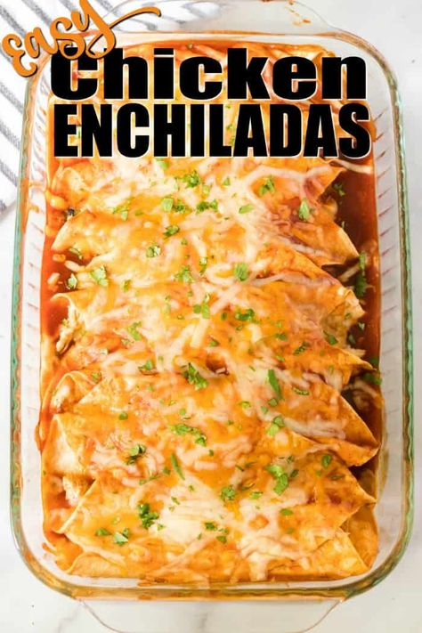 The BEST Chicken Enchilada Recipe! Shredded chicken rolled up in a soft, flour tortilla with cheese and all of your favorite fillings and toppings and smothered with enchilada sauce! A family favorite homemade recipe! Casserole Enchilada, Casserole Recipes, Flour Tortilla Enchiladas, Mexican Enchiladas, Chicken Enchilada Casserole, Bbq Pitmasters, Best Chicken Enchilada Recipe, Easy Chicken Enchiladas, Recipes With Enchilada Sauce