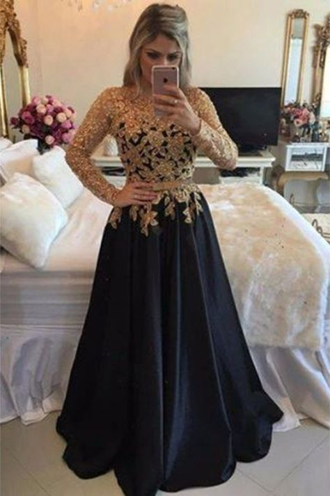 A-Line Gold Lace Appliques Long Sleeves Prom Dresses Party Evening Gowns #blackformaldress #formaldresslongsleeves #longeveningdress