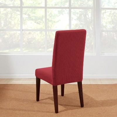 Astounding Dining Chair Slipcover Wine Red Sure Fit Machost Co Dining Chair Design Ideas Machostcouk