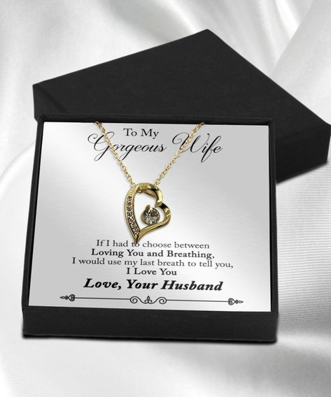 To My Gorgeous Wife Necklace Gold
