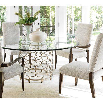 Lexington Laurel Canyon Upholstered Dining Chair Glass Round Dining Table Glass Top Dining Table Round Dining Table