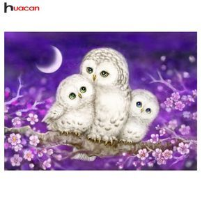 HUACAN Full Lovely Owl Diamond Painting Mosaic Bedroom Decor Rubik's Cube Round Diamond Embroidery Cross Stitch Cartoon H