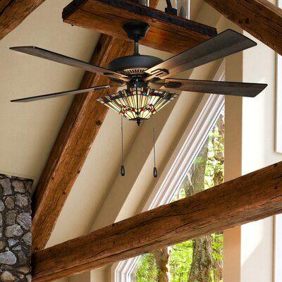 Millwood Pines 52 Loken Craftsman Stained Glass 5 Blade Ceiling Fan Light Kit Included Ceiling Fan With Remote Ceiling Fan Craftsman Ceiling Fans
