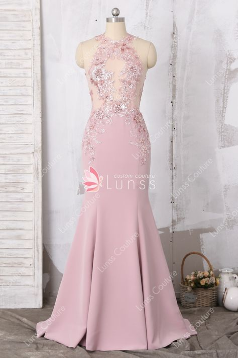 808e09b53cc This elegant dusty pink long mermaid formal gown features a sexy keyhole  back. Sparkly lace applique accents the see through bodice.