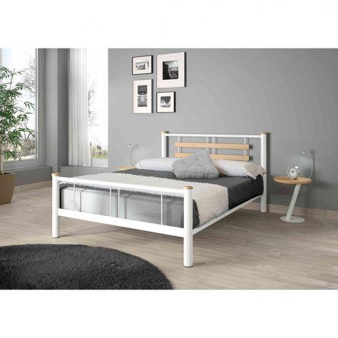 Lit En Metal Blanc Et Chene Lt4005 Products Decoration Maison Lit Metal Et Meuble