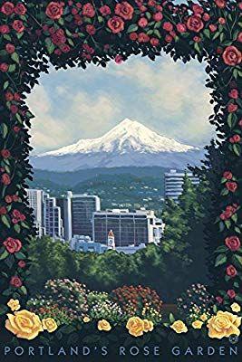 Amazon com: Rose Garden - Portland, Oregon (12x18 Art Print