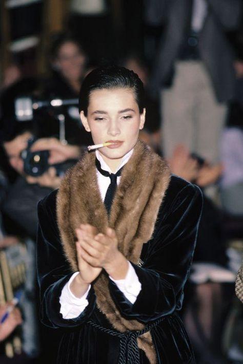"notordinaryfashion: "" supermodelgif: "" Ralph Lauren, 1984 "" I love the smoking jacket """