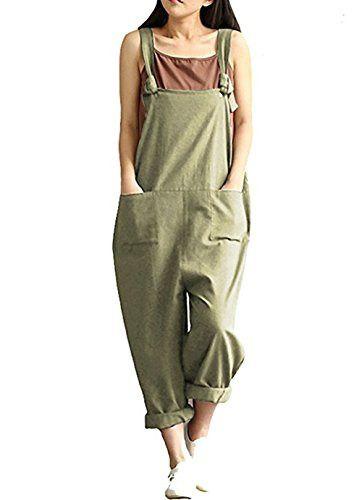 Womens Casual Cotton Linen Jumpsuit Baggy Bib Overalls Suspender Loose Rompers Plus Size