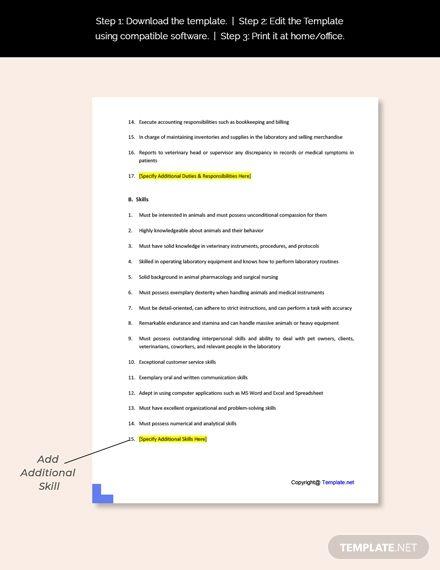 Laboratory Animal Caretaker Job Description Template Free Pdf Word Apple Pages Google Docs Job Description Template Job Description Cover Letter Template