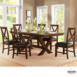 Bayside Furnishings Solid Wood 7 Piece Extending Dining Table And Chairs Set Bayside Furnishings Dining Table Extendable Dining Table