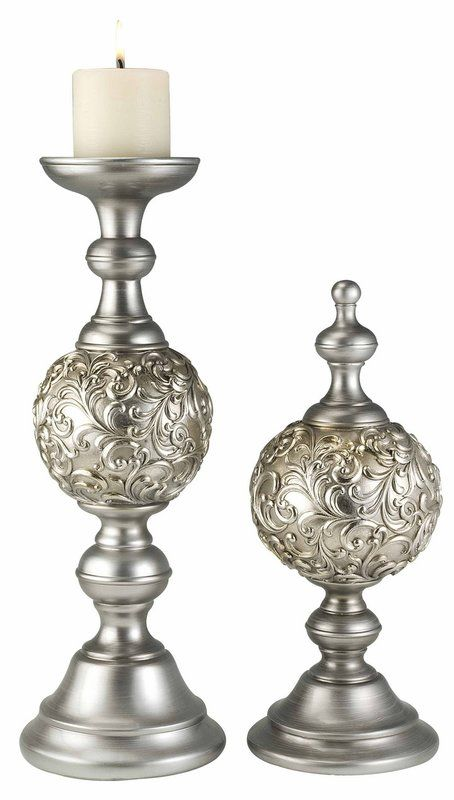 Null 2 Piece Silver Candlestick Set Candle Holders Design Candle Holders Silver Candlesticks