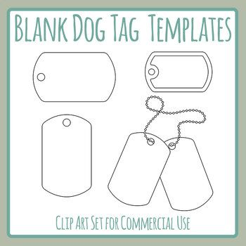 Blank Dog Tag Templates Clip Art Set For Commercial Use Dog Tags Dog Tags Tattoo Dog Tags Diy