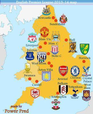Premier League Map Of Premier League Teams Premier League 2013 14 Map Of Premier League Teams Premier League Teams English Premier League Premier League