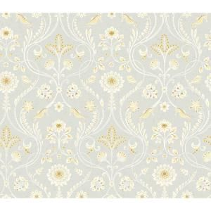 Chesapeake Island Grey Damask Paper Strippable Roll Wallpaper Covers 56 4 Sq Ft 3113 12002 The Home Depot Damask Wallpaper Grey Damask Wallpaper Brewster Wallpaper