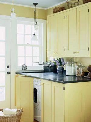 • Consider the top of the washer or dryer as extra counter space. You can install a butcher block or other surface over the top of the machine to make it work.