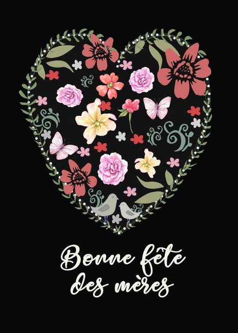 Happy Mother Rsquo S Day In French Quebec Heart And Flowers Card Ad Affiliate Rsquo Day Happy M Happy Mothers Day Happy Mothers Happy Mother S Day