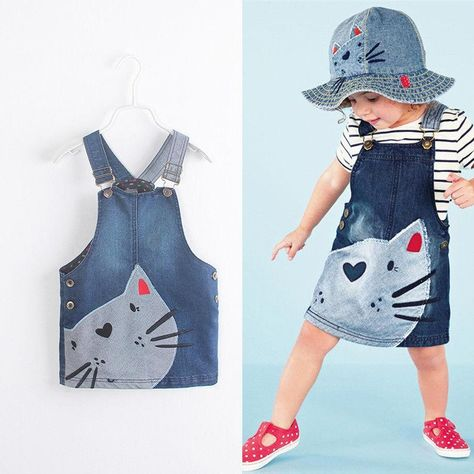 New Toddler Infant Cute Cat Pattern Baby Kids Girls Casual Denim Jeans Overalls Dress Clothes - denim / 2T