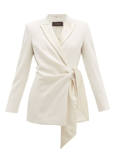 GABRIELLE'S AMAZING FANTASY CLOSE   Max Mara's Ivory Crepe Wrap Blazer has a Slouchy, Drapey feel with Tailored Shoulders, Silk-Satin, Notch Lapels and a Side Tie. The Trousers sit High on the Waist and Flow to the Floor with Flared Legs and Side Slits. (Trousers) You can see the Whole Outfit and my Remarks on this board. - Gabrielle (Blazer) You can see the Whole Outfit and my Remarks on this board. - Gabrielle
