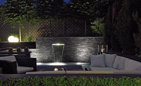 Oase Wasserfall Beleuchtung \/ Waterfall Illunination 60 Garten - wasserfall garten wand