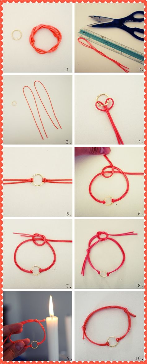 DIY Thread Bracelet   DiyReal.com... We could do it with star beads!