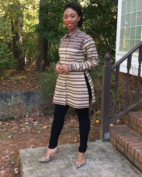 Aveye African Print Shirt Dress (Brown) – Afrilege
